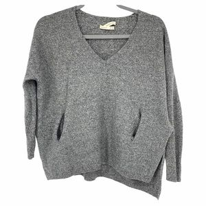 Babaton grey wool blend v neck sweater with pocket